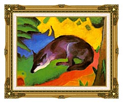 Franz Marc Blue Black Fox canvas with museum ornate gold frame
