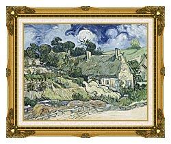 Vincent Van Gogh Thatched Cottages At Cordeville canvas with museum ornate gold frame