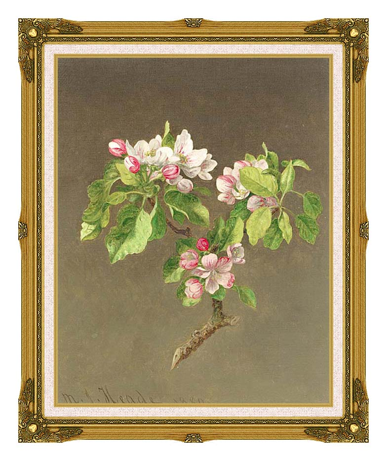 Martin Johnson Heade Apple Blossoms with Museum Ornate Frame w/Liner