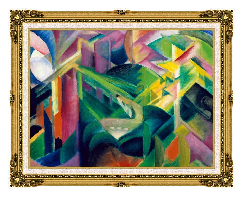 Franz Marc Deer in a Monastery Garden with Museum Ornate Frame w/Liner