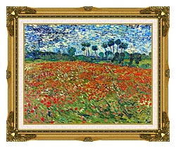 Vincent Van Gogh A Poppy Field canvas with museum ornate gold frame