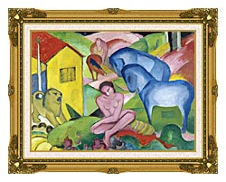 Franz Marc The Dream canvas with museum ornate gold frame