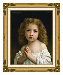 William Bouguereau Little Girl canvas with museum ornate gold frame