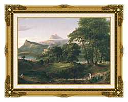 Thomas Cole The Course Of Empire The Arcadian Or Pastoral State canvas with museum ornate gold frame