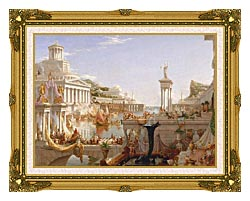 Thomas Cole The Course Of Empire The Consummation Of Empire canvas with museum ornate gold frame