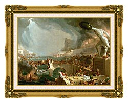 Thomas Cole The Course Of Empire Destruction canvas with museum ornate gold frame