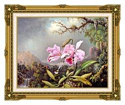 Martin Johnson Heade Study Of An Orchid canvas with museum ornate gold frame