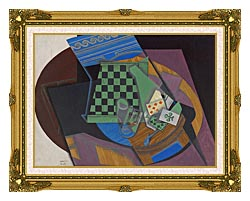 Juan Gris Checkerboard And Playing Cards canvas with museum ornate gold frame