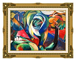 Franz Marc The Mandrill canvas with museum ornate gold frame