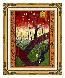 Vincent Van Gogh Flowering Plum Tree canvas with museum ornate gold frame