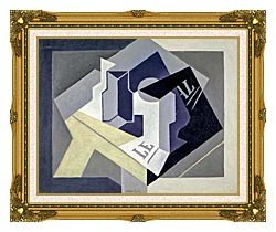 Juan Gris Frutero Y Periodico canvas with museum ornate gold frame