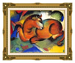 Franz Marc Red Bull canvas with museum ornate gold frame