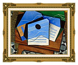Juan Gris Guitar On A Table canvas with museum ornate gold frame
