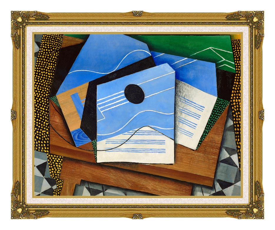 Juan Gris Guitar on a Table with Museum Ornate Frame w/Liner