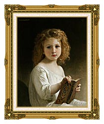 William Bouguereau The Story Book canvas with museum ornate gold frame
