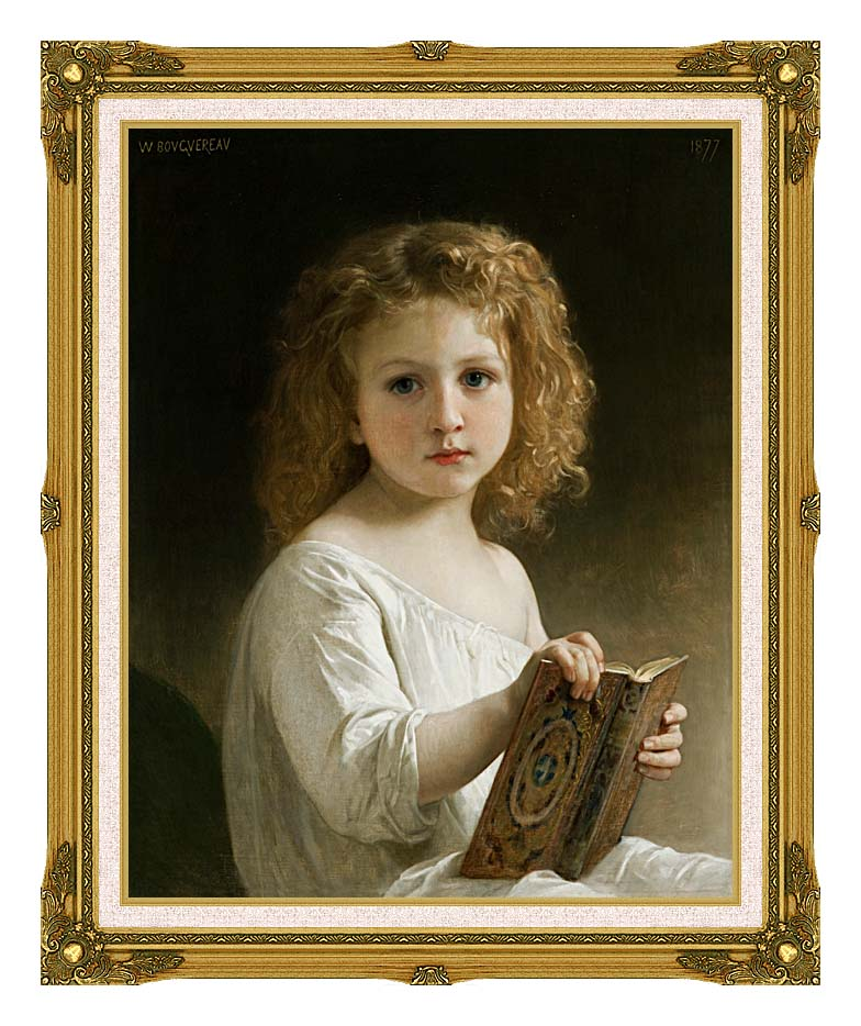 William Bouguereau The Story Book with Museum Ornate Frame w/Liner
