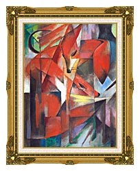 Franz Marc The Foxes canvas with museum ornate gold frame
