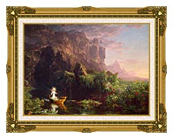Thomas Cole Voyage Of Life Childhood 1842 canvas with museum ornate gold frame