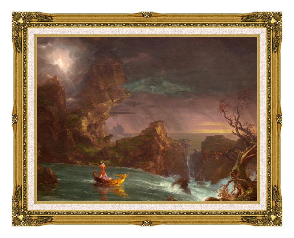 Thomas Cole Voyage of Life: Manhood 1842 with Museum Ornate Frame w/Liner