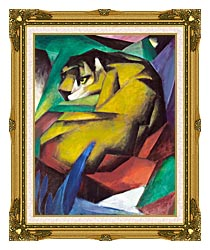 Franz Marc The Tiger canvas with museum ornate gold frame