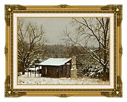 Ray Porter Cabin In The Woods canvas with museum ornate gold frame