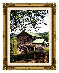 Ray Porter Old Mill canvas with museum ornate gold frame