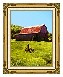 Ray Porter Country Springtime canvas with museum ornate gold frame