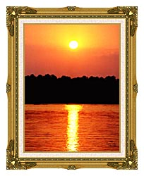 Ray Porter Red Sky At Night canvas with museum ornate gold frame