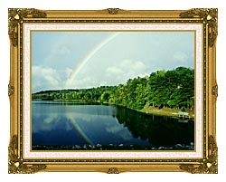 Ray Porter Rainbow canvas with museum ornate gold frame