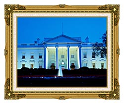 Visions of America White House In Evening Washington DC canvas with museum ornate gold frame