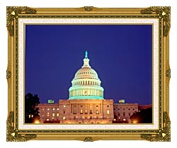 Visions of America U S Capitol Building At Night Washington D C canvas with museum ornate gold frame