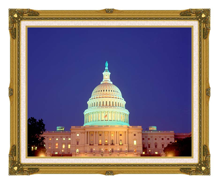 Visions of America U S Capitol Building at Night, Washington, D C with Museum Ornate Frame w/Liner