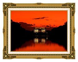 Visions of America Lincoln Memorial At Sunset With Red Sky canvas with museum ornate gold frame