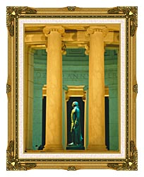 Visions of America Statue Of Thomas Jefferson Washington D C canvas with museum ornate gold frame