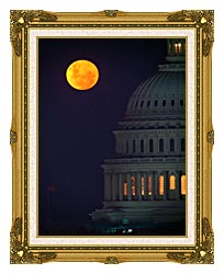 Visions of America Full Moon Over U S Capitol In Washington D C canvas with museum ornate gold frame