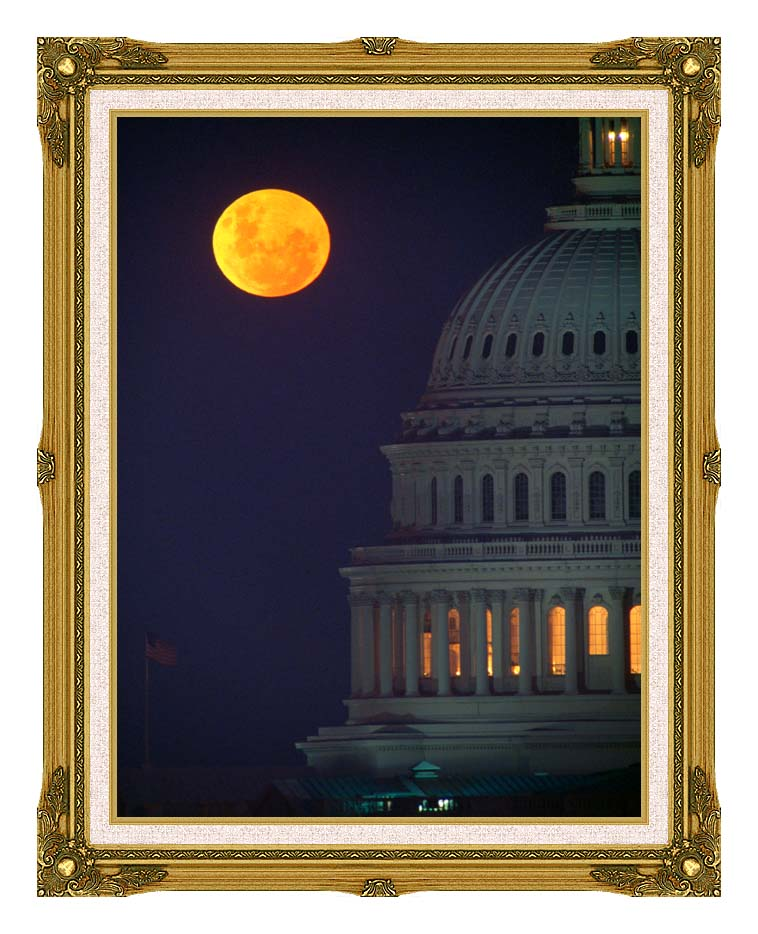 Visions of America Full Moon over U S Capitol in Washington, D C with Museum Ornate Frame w/Liner