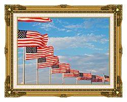 Visions of America American Flags At Washington National Monument canvas with museum ornate gold frame