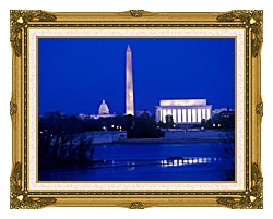 Visions of America Lincoln And Washington Monuments And U S Capitol canvas with museum ornate gold frame