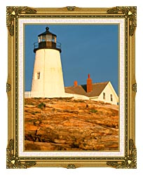 Visions of America Pemaquid Lighthouse Maine canvas with museum ornate gold frame
