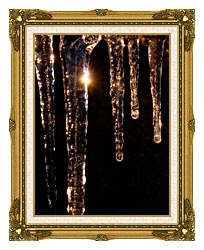 Visions of America Close Up Of Icicles Acadia National Park Maine canvas with museum ornate gold frame