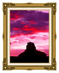 Visions of America Indian Ruins At Sunset Chaco Canyon New Mexico canvas with museum ornate gold frame