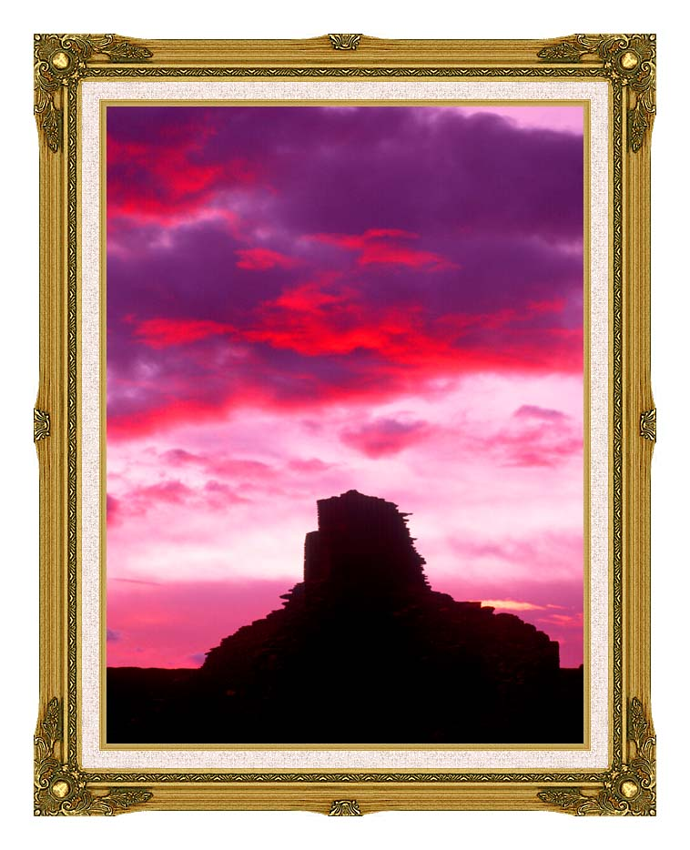 Visions of America Indian Ruins at Sunset, Chaco Canyon, New Mexico with Museum Ornate Frame w/Liner