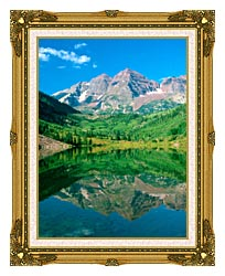 Visions of America Maroon Bell Mountain And Maroon Lake Colorado canvas with museum ornate gold frame