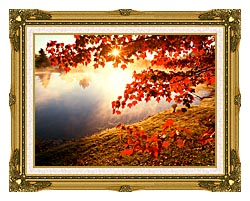 Visions of America Misty Pond With Autumn Leaves In Connecticut canvas with museum ornate gold frame