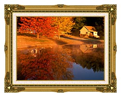 Visions of America Wood Shed On Lake In Autumn Connecticut canvas with museum ornate gold frame