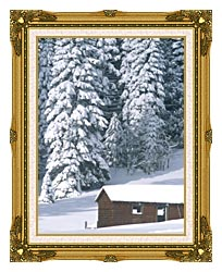 Visions of America Snow Covered Wooden Cabin In Forest California canvas with museum ornate gold frame