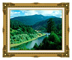 Visions of America Rogue River In Southern Oregon canvas with museum ornate gold frame