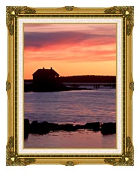 Visions of America House Silhouette At Sunrise Mt Desert Island Maine canvas with museum ornate gold frame