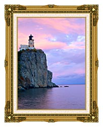 Visions of America Lighthouse Split Rock Minnesota canvas with museum ornate gold frame