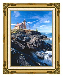 Visions of America Eagle Harbor Lighthouse Michigan canvas with museum ornate gold frame